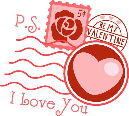 刺繍パターンでバレンタイン切手デザインのこの広い範囲を選択します。