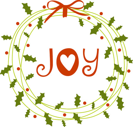 Get in the Christmas spirit by hanging a beautiful wreath on your front door or inside your home Illustration