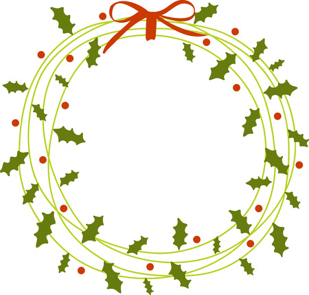 christmas spirit: Get in the Christmas spirit by hanging a beautiful wreath on your front door or inside your home Illustration