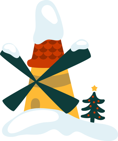 tannenbaum: get the colorful Christmas Windmill design.enjoy to celebrate your Christmas party Illustration