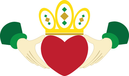 The Claddagh ring is a traditional Irish ring given which represents love loyalty and friendship.pick those design by embroidery patterns. 向量圖像