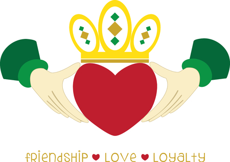 nobility: The Claddagh ring is a traditional Irish ring given which represents love loyalty and friendship.pick those design by embroidery patterns. Illustration