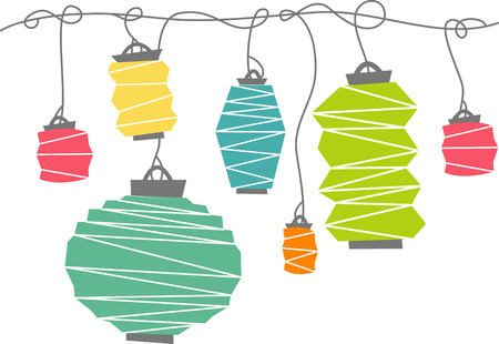 Beautiful lighted paper lanterns create a unique and fabulous ambiance when used at your party or event. Lets enjoy the design by embroidery patterns. Illustration