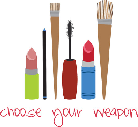 Look Every Bit of a Diva by Flaunting these Make up tools all over your collectables. Ilustração