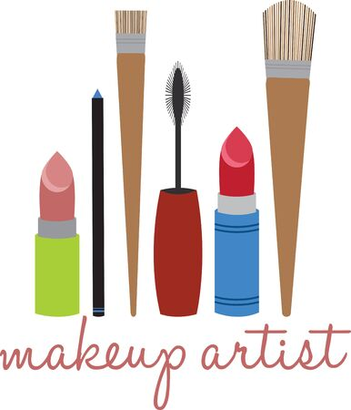 Look Every Bit of a Diva by Flaunting these Make up tools all over your collectables. Ilustracja