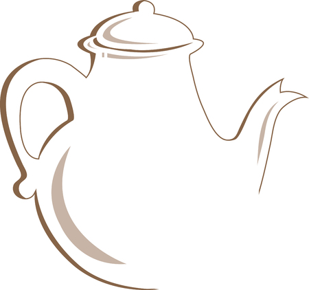 chinaware: Tea pots make the difference between good and great tea. Enjoy a great cup with tea kettles and ceramic teapots with this design by embroidery patterns. Illustration