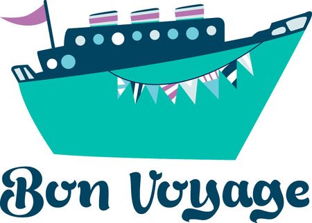 Enjoy the spectacular view as your cruise ship pulls into port and get ready for excitement in on and above the water with Water Adventures with this design by Embroidery patterns Illustration