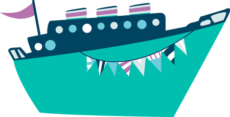 cruiseship: Enjoy the spectacular view as your cruise ship pulls into port and get ready for excitement in on and above the water with Water Adventures with this design by Embroidery patterns Illustration