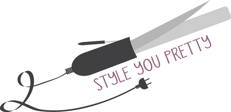 Curling Iron is great for adding waves, curls, or volume to any hair style. Look gorgeous with this design by Embroidery patterns! Illustration
