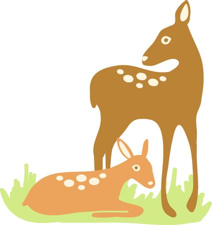 鹿の精神は、doe と美しい鹿の刺繍パターンによって設計サイレント繊細で優雅な収集を穏やかなです。 写真素材 - 41551590