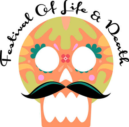 freaky: Discover the funky and freaky world of Day of the Dead art with this design by Embroidery patterns