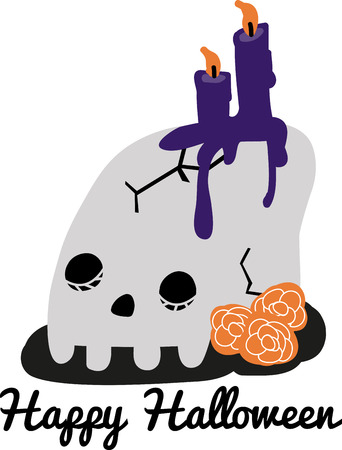 all souls day: Best theme for Halloween party. Feel spooky with this design by Embroidery patterns Illustration