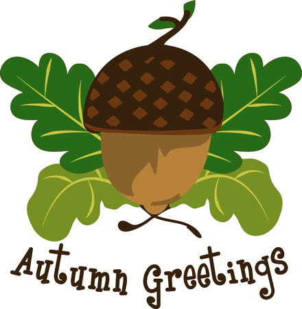 give thanks to: The stylish simplicity of acorns and leaves inspires fresh fall decorating projects. Perfect for home decorations. Illustration