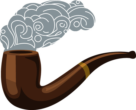 pipe smoking: Eine Pfeife ist ein Ger�t aus, um dem Benutzer zu inhalieren oder Geschmack Rauch oder Dampf aus der Verbrennung oder Verdampfung eines Stoffes ableiten Illustration