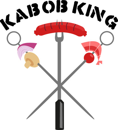 kabob: Fantastic skewer design for a delicious barbeque night out. Illustration