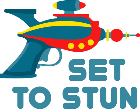 gunshot: ray gun is a toy gun that creates a loud sound simulating a gunshot and a puff of smoke when the trigger is pulled pick those design by embroidery patterns. Illustration