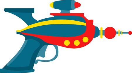 ray gun: ray gun is a toy gun that creates a loud sound simulating a gunshot and a puff of smoke when the trigger is pulled pick those design by embroidery patterns. Illustration