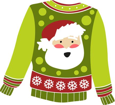 산타 스웨터를 입어 시원하게 될 때 뜨거워 지도록하십시오. 자수 패턴으로이 디자인을 사용하십시오.