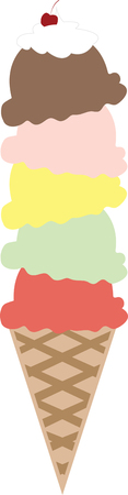 sherbet: Nothing screams summer like an ice cream cone.  This design is perfect on bags tshirts and more. Illustration