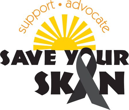 Support Melanoma awareness and treat the most common disease in United States. Save your skin with this design by Embroidery patterns Ilustração