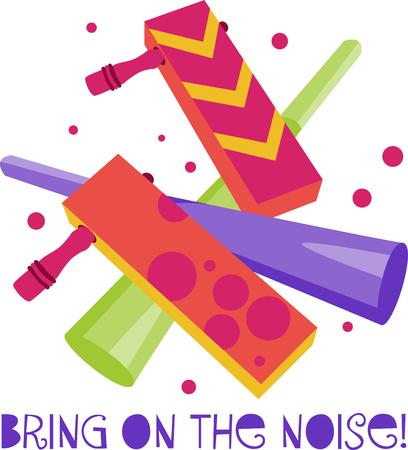 Party time Noisemakers maken de perfecte partij gunst voor elke partij. Vier met dit ontwerp door Borduurpatronen