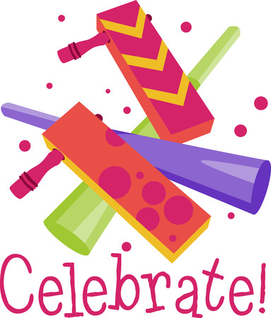 favor: Party time Noisemakers make the perfect party favor for any party. Celebrate with this design by Embroidery patterns