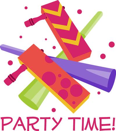 Parti Bruiteurs de temps font de la faveur du parti parfait pour toute partie. Célébrez avec cette conception par des motifs de broderie Banque d'images - 41520147