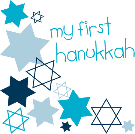 Happy Hanukkah May this season of beauty and light fill your heart and home with happiness with this Star of David designed by Embroidery patterns Banco de Imagens - 41520047
