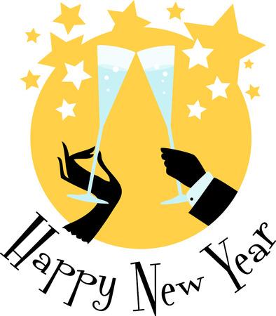 それは伝統にシャンパン グラスで新年を乾杯です。このシャンパン トーストと他のような党と右から新年のスタートを是非します。