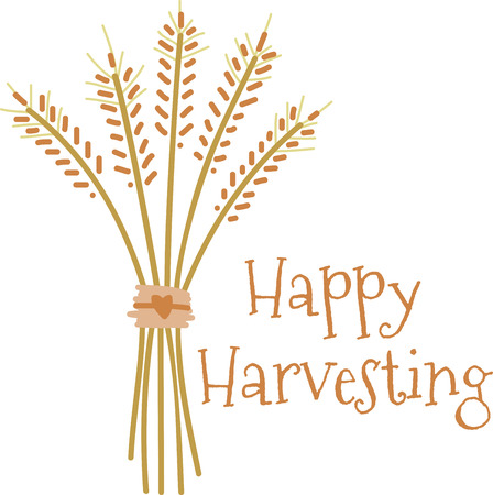 This beautiful bundle of wheat stalks makes a perfect centerpiece for harvest decorations  A perfect design on tablecloths napkins and gifts.