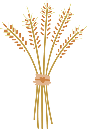fall harvest: This beautiful bundle of wheat stalks makes a perfect centerpiece for harvest decorations  A perfect design on tablecloths napkins and gifts.
