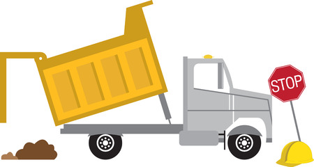 A dump truck is a truck used for transporting loose material for construction.