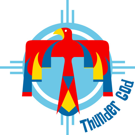 Discover the secret meaning of this mysterious Thunderbird symbol of Indians. Иллюстрация