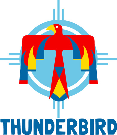 thunderbird: Discover the secret meaning of this mysterious Thunderbird symbol of Indians. Illustration