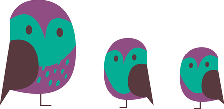 nocturnal animal: Pick these Cute and funny Owls designs specially brought to you by Embroidery patterns Illustration