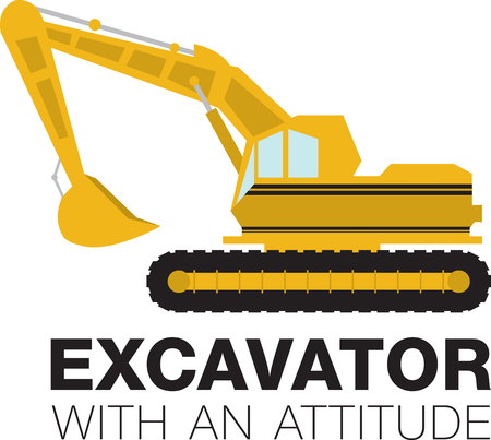 heavy construction: Complete your construction worker costume with this Excavator design by Embroidery patterns. Illustration