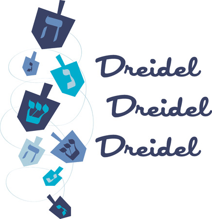 hanukiah: Enjoy this fun Jewish tradition this Hanukkah. Play this Dreidel with your family designed by Embroidery patterns Illustration