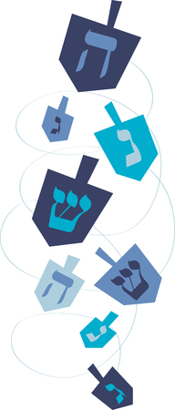 spinning: Enjoy this fun Jewish tradition this Hanukkah. Play this Dreidel with your family designed by Embroidery patterns Illustration