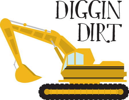 heavy industry: Complete your construction worker costume with this Excavator design by Embroidery patterns. Illustration