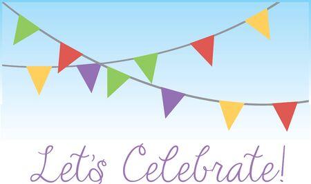 Holen Sie sich die bunten Fahnen und feiern Sie Ihre party.with diesen Entwurf von Stickmustern. Standard-Bild - 41568741