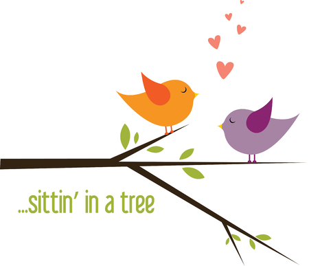 st valentine  s day: Lovebirds sitting on tree branch looking at each other to share their love.