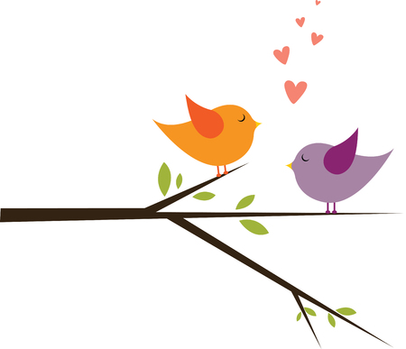 Lovebirds sitting on tree branch looking at each other to share their love.
