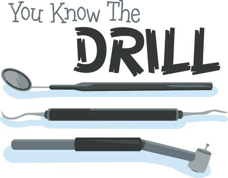 医者は、私たちの歯の世話をする必要があるすべてのツール  イラスト・ベクター素材