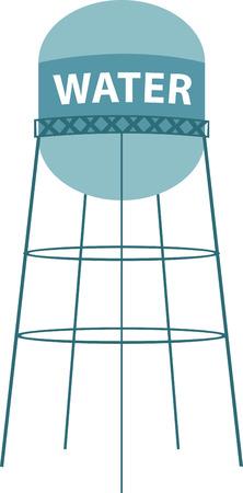 水タワーまたは高架給水塔は、水の流通システムを加圧するための十分な高さで水の供給を保持するために建設された大規模な高架水ストレージ コ  イラスト・ベクター素材