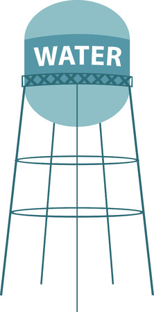 A water tower or elevated water tower is a large elevated water storage container constructed to hold a water supply at a height sufficient to pressurize a water distribution system. Stock fotó - 41568797