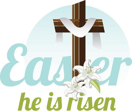 그는 상승했다. 그 믿음을 가지고 ... 그리고 당신은 축복과 행복한 부활절이 그가 항상있을 것입니다. 스톡 콘텐츠 - 41569204
