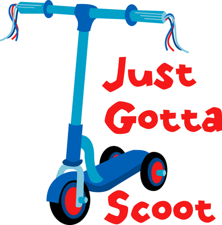 crave: This Blue Scooter is a fun and funky threewheeled scooter that offers kids the freedom and mobility they crave. Illustration