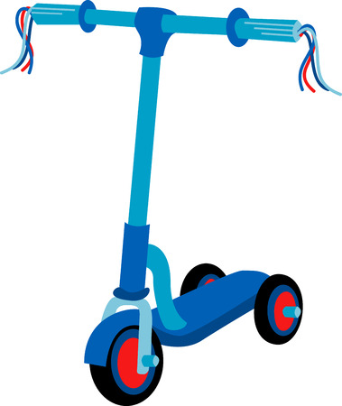 This Blue Scooter is a fun and funky threewheeled scooter that offers kids the freedom and mobility they crave. Ilustracja
