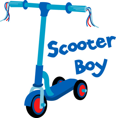 This Blue Scooter is a fun and funky threewheeled scooter that offers kids the freedom and mobility they crave. Ilustração