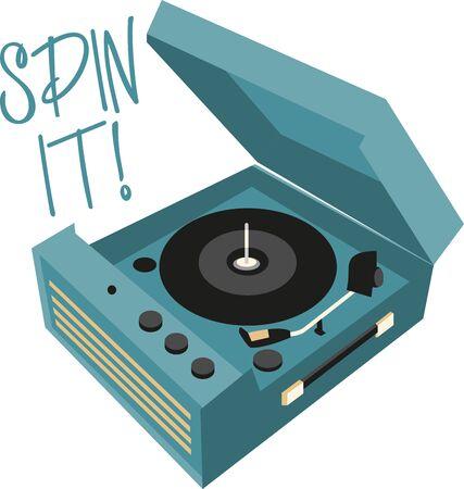 레코드 플레이어는 음악을 듣는 전통적인 출처입니다. 이 복고풍 디자인을 셔츠에 추가하십시오. 일러스트
